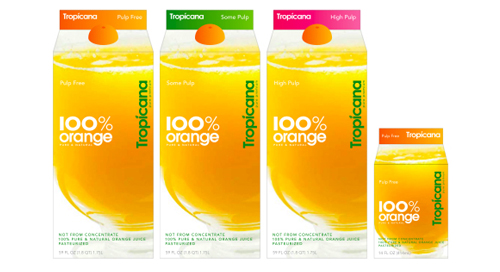 The new Tropicana packaging, simple and clean.